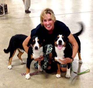 entlebucher breeder, anita crouse, stud dog owner of Entlebucher Mountain Dogs with her two stud dogs bluto and bronco